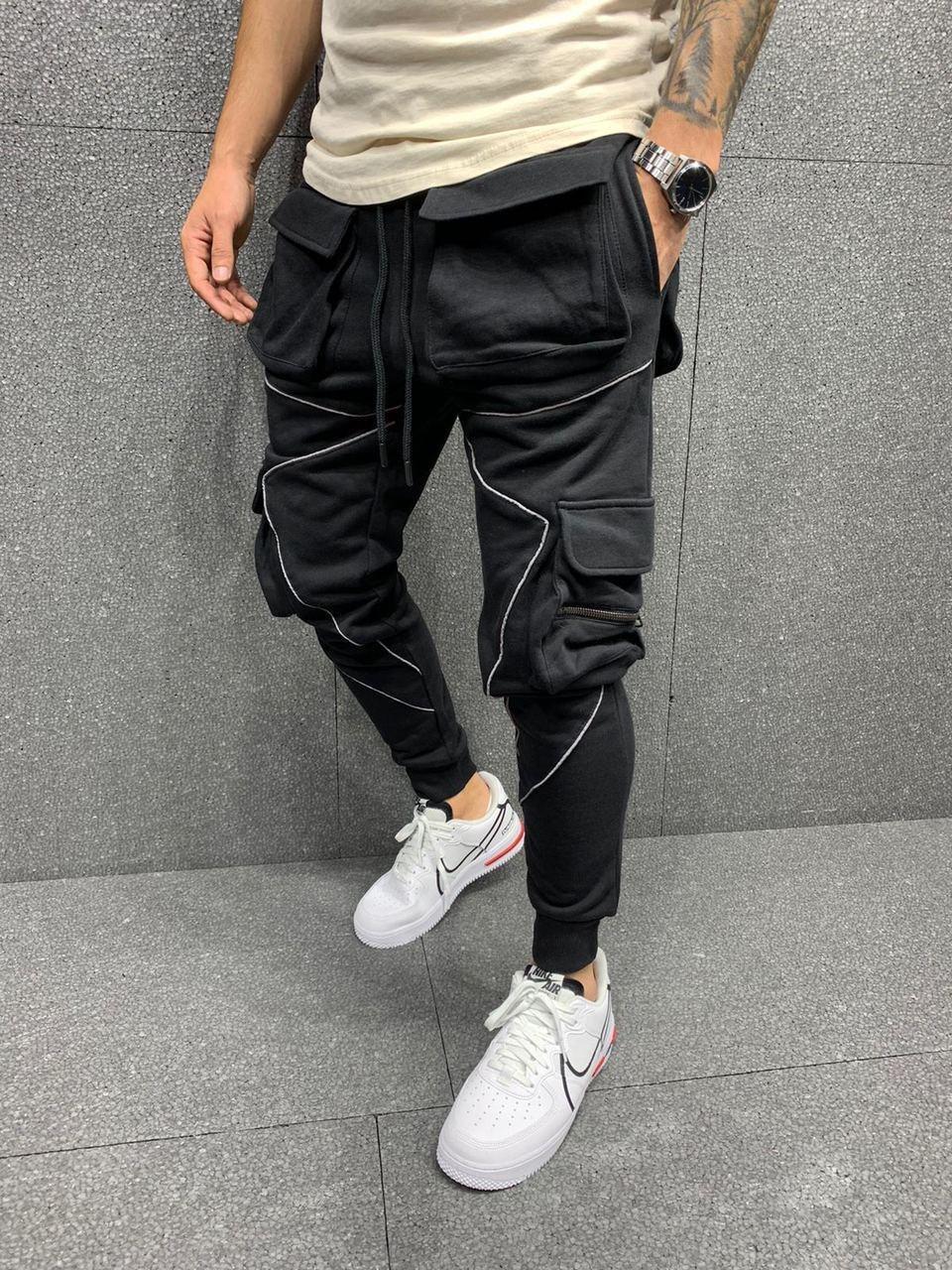 Спортивные штаны - Черные спортивные штаны с масивными карманами