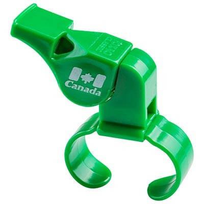 Свисток Fox 40, пластик, крепление на пальце, зеленый, фото 2