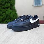 Женские зимние кроссовки Nike Air Force 1 AF1 Low низкие черные с мехом теплые 36-40рр. Живое фото. Реплика, фото 4