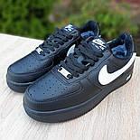 Женские зимние кроссовки Nike Air Force 1 AF1 Low низкие черные с мехом теплые 36-40рр. Живое фото. Реплика, фото 5