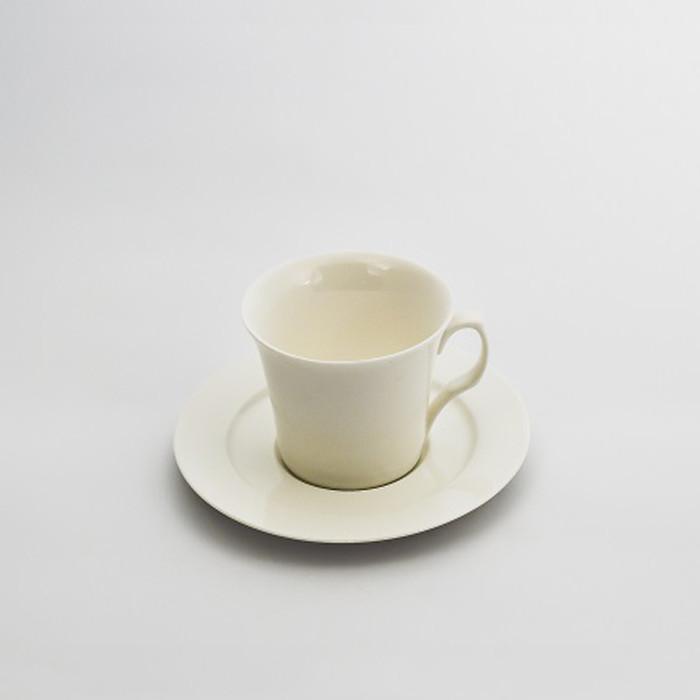 Чашка кофейная с блюдцем (80 мл) Костяной фарфор YF248