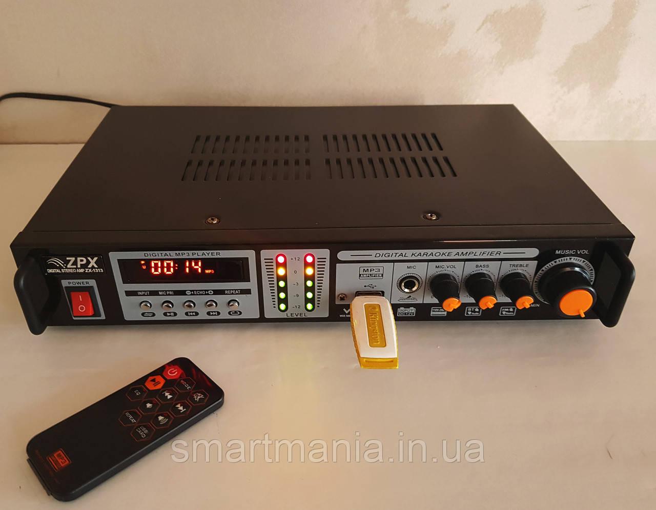 Усилитель мощности звука  AMP ZX-1313,  MP3 USB Micro SD FM  Bluetooth
