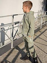 Утеплённый спортивный костюм на флисе Оливковый мальчик/девочка р. 110, 116