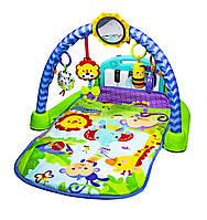 Игровой коврик с пианино и дугой для детей от 1 месяца Fitch baby 8839 развивающий 80х70х50 см голубой