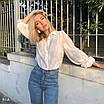 Женская белая рубашка с вышивкой из прошвы в размере 42-44 77rz419, фото 3