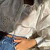 Женская белая рубашка с вышивкой из прошвы в размере 42-44 77rz419, фото 4
