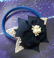 Повязочка эластичная для новорожденных и маленьких принцесс Серебряные листики Подарок девочке