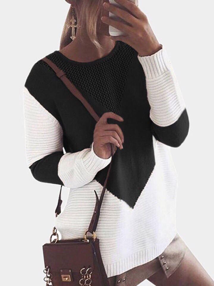 Женский удлиненный вязаный свитер черно-белый (р. 42-46) 48dm922