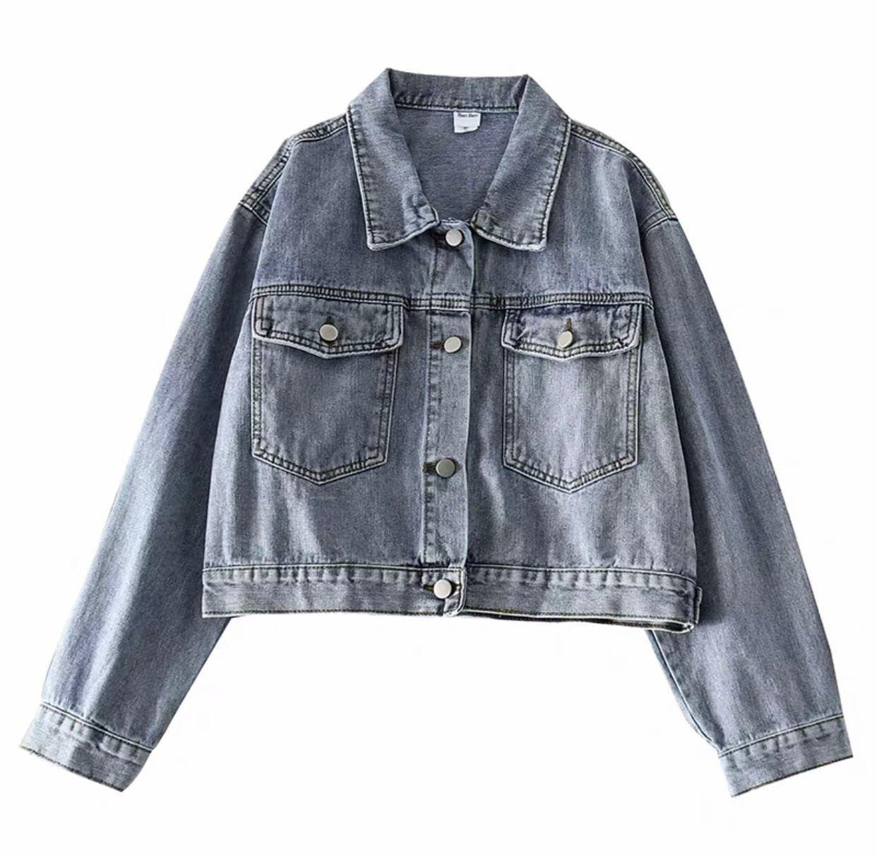 Женская короткая джинсовая куртка с карманами (р. универсальный 42-44) 48ki470