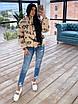 Женская короткая принтованная куртка дутая на молнии без капюшона (р. 42-46) 66ki474Е, фото 3