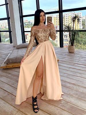 Длинное платье с открытыми плечами, верх из сетки с пайетками, юбка расклешенная с разрезом 66ty1632Е