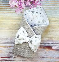 Конверт одеяло на выписку для новорожденных Звезды осень/зима хлопок + плюш Минки серый