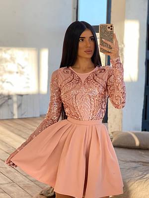 Короткое платье с пышной юбкой и верхом из сетки с узорами из пайеток 66ty1633Е