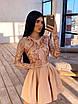 Короткое платье с пышной юбкой и верхом из сетки с узорами из пайеток 66ty1633Е, фото 2
