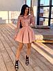 Короткое платье с пышной юбкой и верхом из сетки с узорами из пайеток 66ty1633Е, фото 6