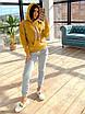 Женский утепленный спортивный костюм на флисе с худи и штанами на манжетах 66rt1102Q, фото 2