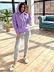 Женский утепленный спортивный костюм на флисе с худи и штанами на манжетах 66rt1102Q, фото 4