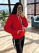 Женский теплый спортивный костюм на флисе с худи с карманом и капюшоном 66rt1103Q, фото 3