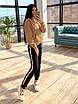 Женский теплый спортивный костюм на флисе с худи с карманом и капюшоном 66rt1103Q, фото 4