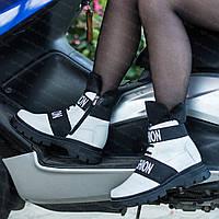Женские зимние кожаные белые ботинки сапоги на полную ногу, женская обувь больших размеров от производителя