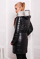 Модная черная куртка зимняя со снимающейся жилеткой