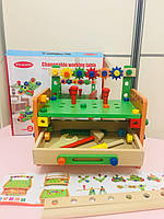 Детский набор деревянных инструментов на стойке арт. 015