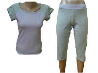 """Комплект спальный женский бриджи с футболкой P 06 """"Ego"""" 95% хлопок цвет сиреневый"""