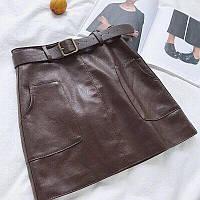 Женская Юбка из эко кожи с карманами, пояс в комплекте, фото 1