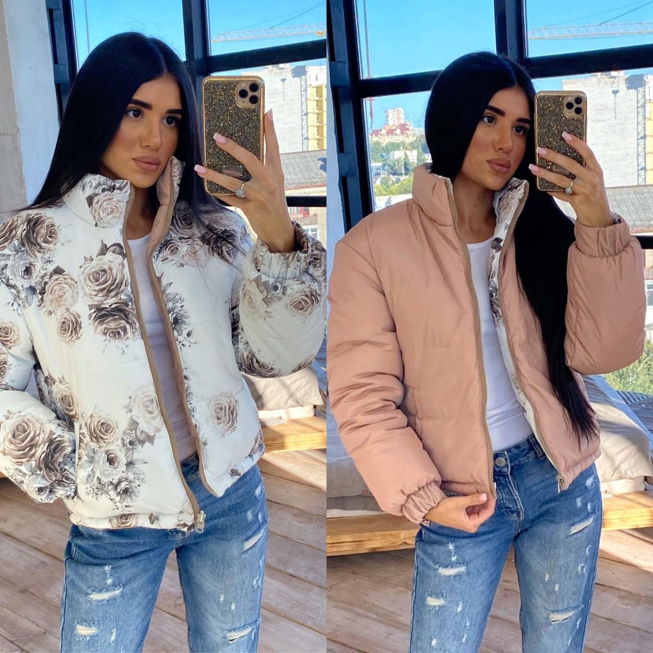 Женская двухсторонняя короткая куртка с цветочным принтом без капюшона (р. 42-46) 66kur475Q