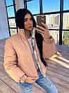 Женская двухсторонняя короткая куртка с цветочным принтом без капюшона (р. 42-46) 66kur475Q, фото 3