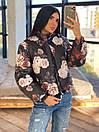 Женская двухсторонняя короткая куртка с цветочным принтом без капюшона (р. 42-46) 66kur475Q, фото 4