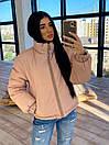 Женская двухсторонняя короткая куртка с цветочным принтом без капюшона (р. 42-46) 66kur475Q, фото 6