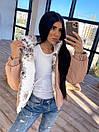 Женская двухсторонняя короткая куртка с цветочным принтом без капюшона (р. 42-46) 66kur475Q, фото 7
