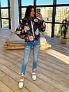 Женская двухсторонняя короткая куртка с цветочным принтом без капюшона (р. 42-46) 66kur475Q, фото 8