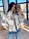 Женская двухсторонняя короткая куртка с цветочным принтом без капюшона (р. 42-46) 66kur475Q, фото 10