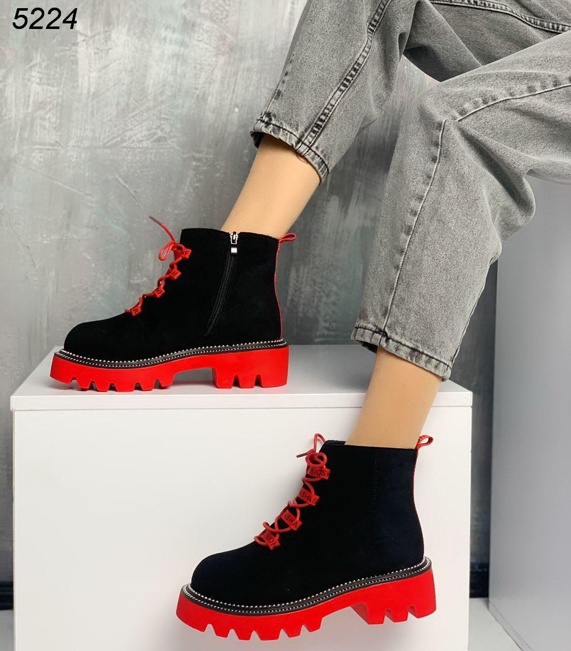 Женские зимние ботинки замшевые черные на красной подошве BO5224