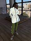 Женский спортивный костюм со светоотражающей ветровкой и штанами джоггерами (р. 42-44) 66spt1108Q, фото 2