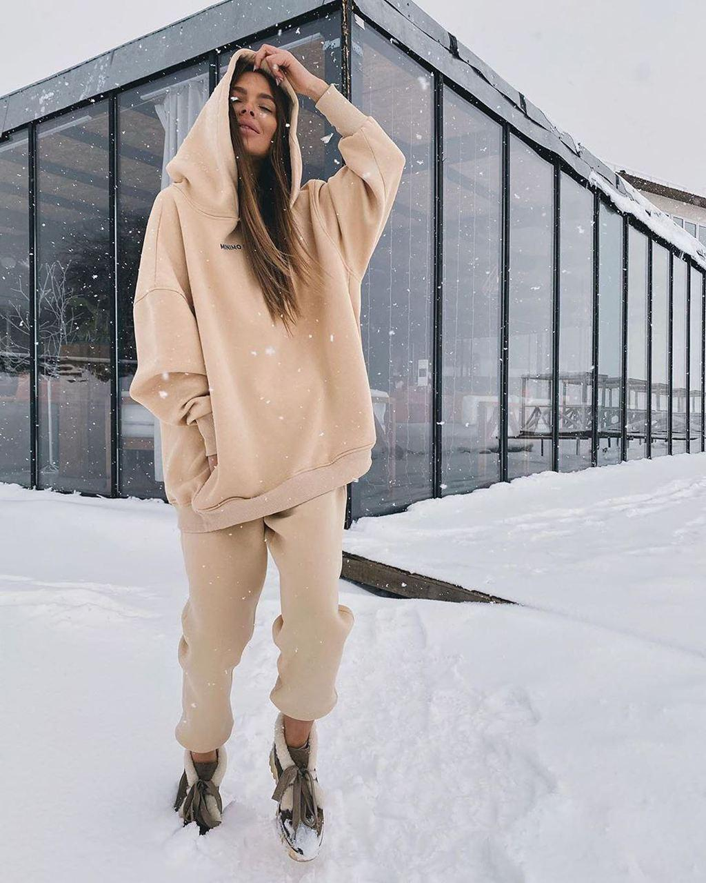 Костюм свободный теплый женский на флисе с капюшоном