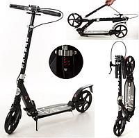 Самокат двухколесный для детей и взрослых с ручным тормозом в черном цвете