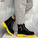 Женские черные зимние ботинки из замши на желтой и красной подошве JQ5227, фото 2