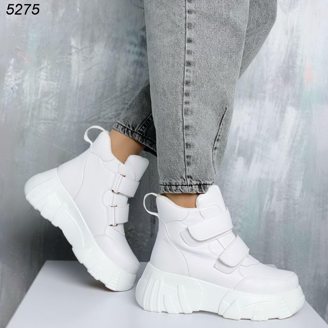 Женские зимние ботинки белые из экокожи на липучках JQ5275
