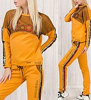 Турецкий брендовый стильный спортивный костюм женский № 8877 горчица