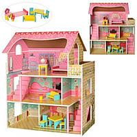 Деревянный домик для кукол с мебелью в 3 этажа с вирандой (аналог KidKraft)