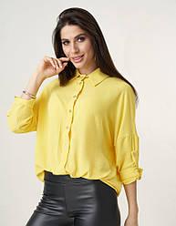 Льняная желтая женская рубашка с рукавами летучая мышь