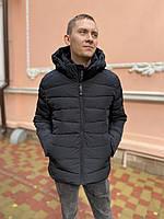 Куртка бомбер пуховик зимова батал велика чоловіча коротка молодіжна чорна з капюшоном без хутра тепла