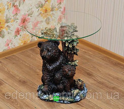 Стіл журнальний Ведмідь з ведмежам стільниця 25 см, фото 2
