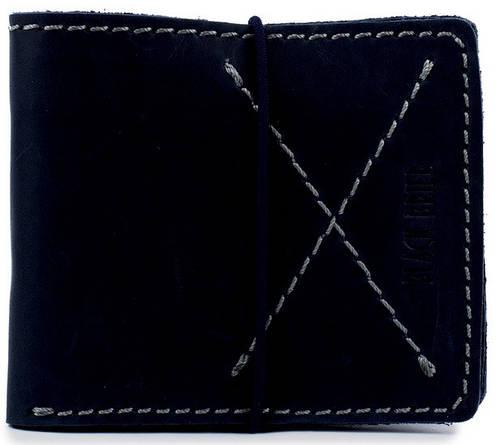 Тонкий мужской кожаный бумажник на резинке Black Brier П-8-97 темно-синий