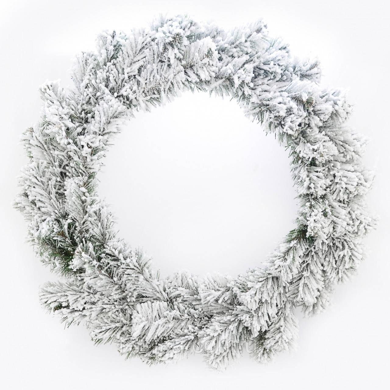 """Новогодний декоративный заснеженный венок """"Рождественский"""", Ø 17,5 см"""