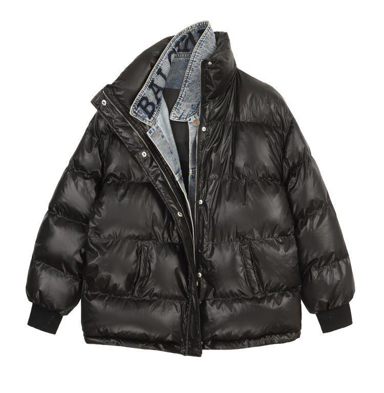 Женская крутейшая куртка оверсайз с джинсовым воротником в стиле Balenciaga