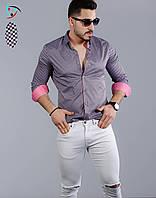 Мужская рубашка с длинным рукавом в горошек
